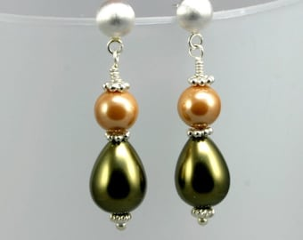 Pearl and Sterling Silver Wireworked Earrings