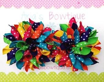 Tropical Rainbow Dots  Mini Korker Hair Bows