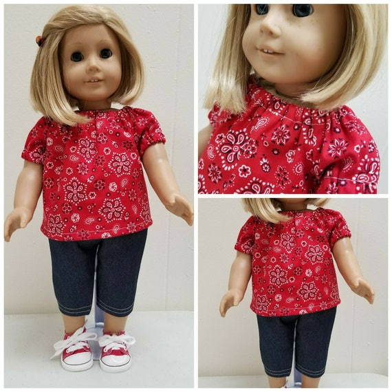 Peasant Top and Shorts for your American Girl Doll  Handmade