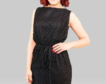 Vintage 1950s Dress /  50s Wiggle Dress  / Black Vintage 50s Dress / Black 1950s Ribbon Work Dress / Black Ribbon Dress