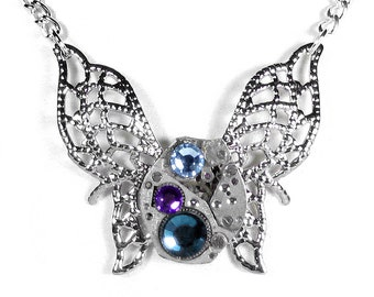 Steampunk Jewelry Necklace Vintage Watch Victorian Silver Filigree BUTTERFLY Aqua Lilac Crystal Anniversary Bridesmaids - Steampunk Boutique