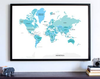 Travel, World Map Wall Art Print, Wanderlust, World Map, Gifts For People Who Travel, Home Decor, Large World Map, Map Poster, Man Cave