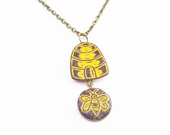 Beehive Necklace, Honey Bee Necklace,  Bee Charm, Bumble Bee Necklace, Beehive pendant, Save the Bees Necklace, Wife Gift, Nature Lover Gift