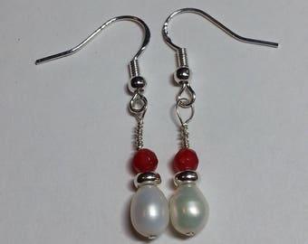 Ruby, Pearl & Sterling Silver earrings