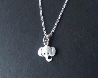 So tiny elephant necklace in sterling silver - gift for her - cute wedding gift birthday gift for teenager - lucky charm