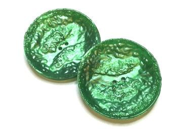 Pretty green buttons 2pcs
