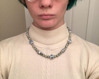 Grean and blue beaded necklace