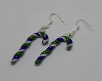Green, white and blue Glass Candy Cane Earrings