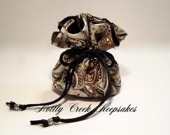 Jewelry Bag / Travel Jewelry Case /Jewelry Organizer / Drawstring Jewelry Pouch / Black Brown Creme Gold with Black Satin