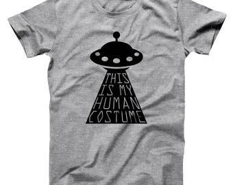 This Is My Human Costume Funny Halloween Humor Alien Basic Men's T-Shirt DT1970