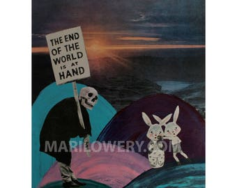Strange Wall Decor, Weird Art 8.5 x 11 Inch Mixed Media Collage Print, Surreal Colorful Skull and Bunny Rabbit Art,, frighten
