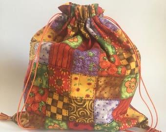 Fall drawstring bag, Trick or treat string bag, Autumn squares bag, candy bag, Handmade drawstring bag, small autumn bag, sac16