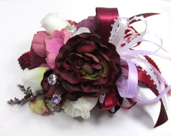 Mulberry Memories Large Corsage in Burgundy, Pink, Plum, White, Marsala Dark Red - Ready to Ship