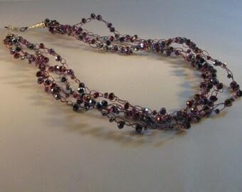 Purple Beaded Wire Crochet Necklace
