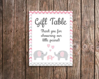 Pink Elephant Baby Shower Gift Table Sign - Pink and Gray Chevron Elephant Baby Shower - Elephant Shower - Printable Gift Table Sign DIGITAL