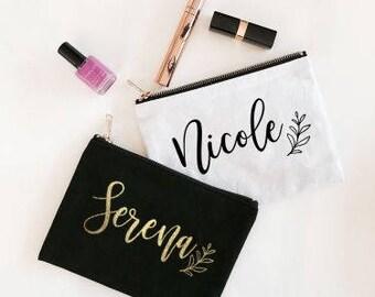 Custom Name Canvas Cosmetic Bag