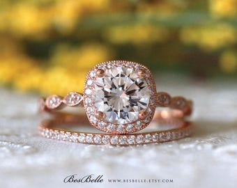 2.18 ct.tw Art Deco Bridal Set-Brilliant Cut Center-Engagement Ring W/ All or Half Eternity-Rose Gold Plated-Sterling Silver [65360RG-2A]