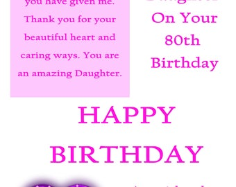 Daughter 80 Birthday Card with removable laminate