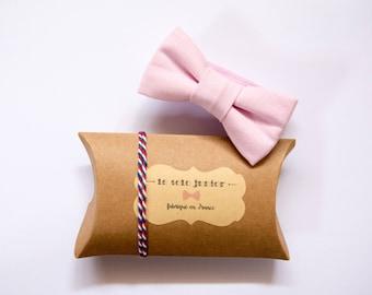 Kids adjustable pink cotton bowtie / bow tie