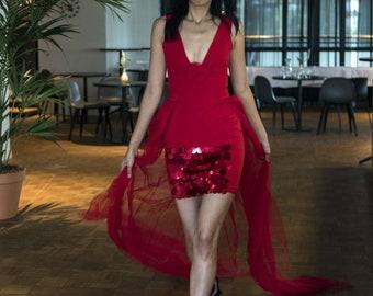 Red Unique evening Dress
