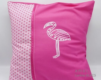 Pink flamingo pillow in cotton and linen