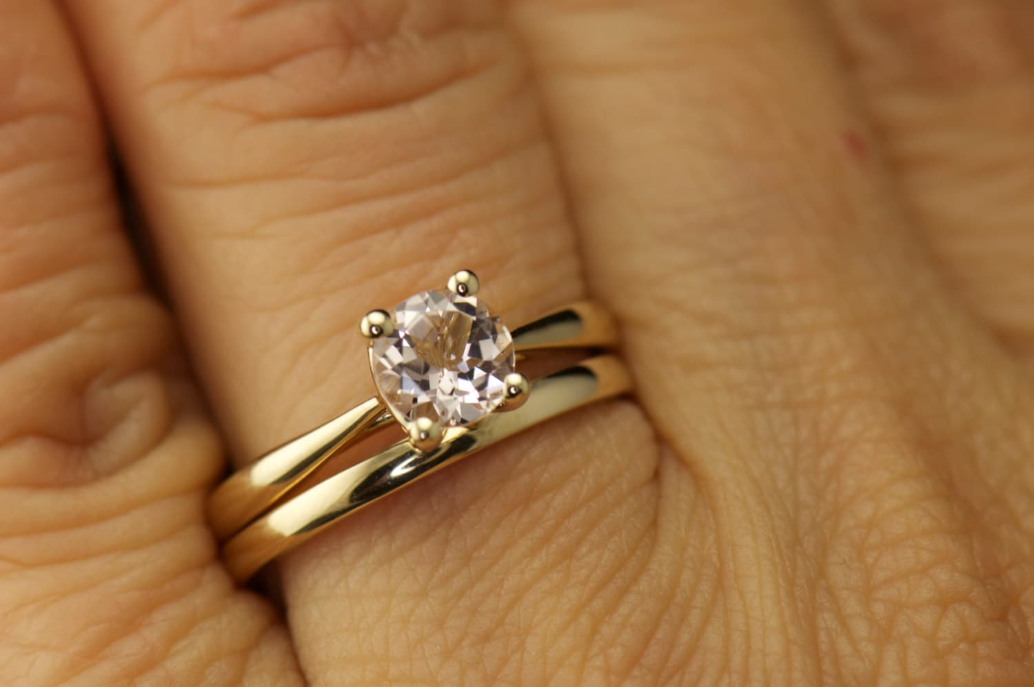 Talia Kelsie Set Morganite Solitaire Engagement Ring in