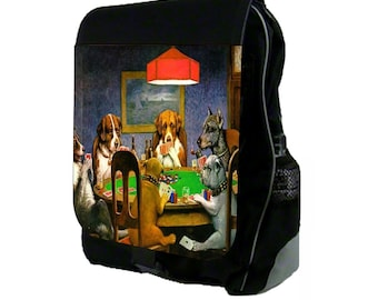 Dogs Playing Poker Large Black School Backpack