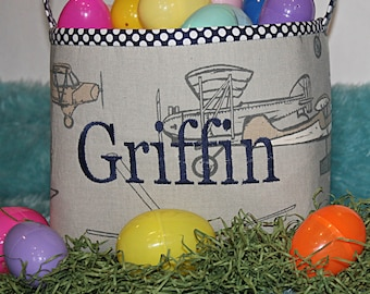 Custom Toy Airplane Basket Room Decor--Personalized Easter Basket--- Boy Easter Basket--- Lots of Fabrics to choose from