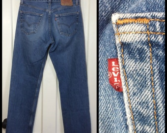Levi's Faded Blue denim 501's 33X32, measures 32x31.5 Straight Leg button fly Jeans made in USA Boyfriend #273