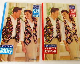 2 Vest Patterns Multiple Sizes Butterick See & Sew Copyright 1993 Uncut