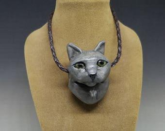 Grey Cat Pendant Handmade Glass 5