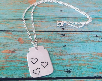 Custom handstamped mason jar of hearts necklace, handmade personalized jewelry, mothers necklace, gift for mom, gift for her, mason jar