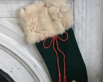 Vintage Handmade Christmas Stocking / Fur Trimmed Vintage Stocking