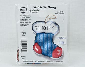 Personalizable Christmas Stocking Needlepoint Ornament Plastic Canvas Embriodery Craft Kit -Red White Blue NeedleMagic Stitch 'N Hang #2415