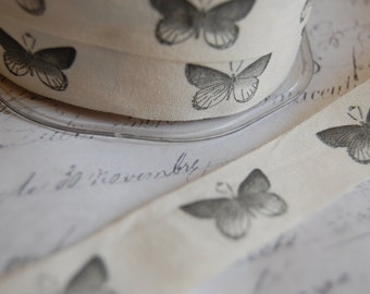 "Natural Cotton Canvas 3/4"" wide Butterfly Print"