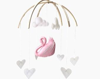 Swan Mobile in Pink (custom)