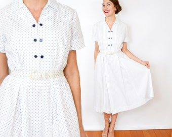 40s White Dotted Dress | Cotton Day Dress | Small