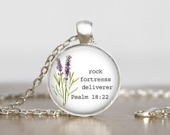 Antique silver Inspirational necklace, Rock Fortress Deliverer, Psalm 18:22, Quote Necklace, Spiritual Jewelry, Scripture Necklace