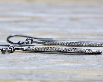 genuine diamond spike earring oxidized sterling silver pave diamond medium thin french hook spike earrings sleek earrings gift for her