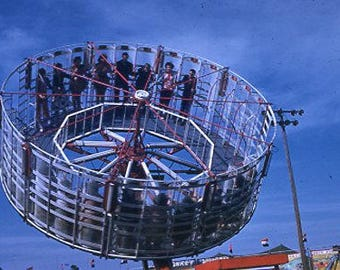 1956 Original 35mm color slide Photo of a Carnival Ride at a City Fair ~ B151USA