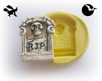 Tombstone Mold Skull Silicone Mold RIP Polymer Clay Resin Fondant Chocolate Mold Headstone Mold Halloween Decoration Headstone Cabochon Mold