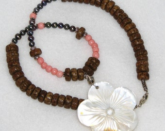 Island Princess, necklace, mother of pearl, coral, salwag seeds, by melanie j cook