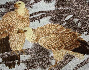 embridery eagles-chinese silk embroidry,chinese art,silk wall hanging,home decor