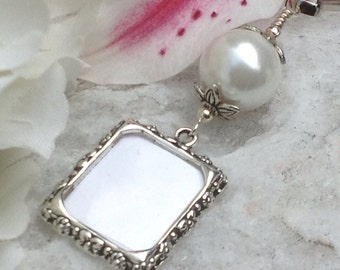 Wedding bouquet charm. White, blue, ivory or pink pearl photo charm.