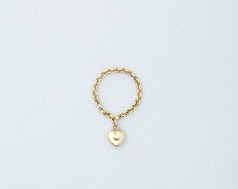 Puffed Heart Ring, Heart Charm Ring, Gold filled Chain ring with heart charm