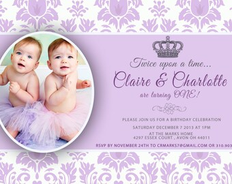 CUSTOM PHOTO Invitations Purple Damask PrincessBirthday Invitation You 5x7 Card - PRINTABLE I Customize You Print