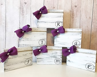 Gifts for bridesmaids ~ monogram bridesmaid gift ~ wedding party gifts ~ maid of honor gift ~ rustic frame set ~ set of 6 frames