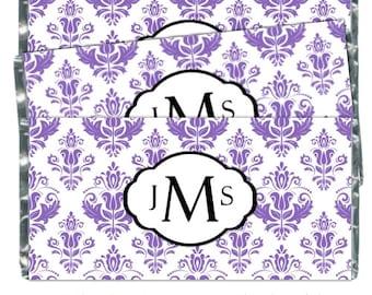 50 Damask Wedding Candy Wrappers, Monogram Candy Wrappers, Bridal Shower Candy Wrappers - fit over 1.55 oz chocolate bars - CUSTOM DESIGN