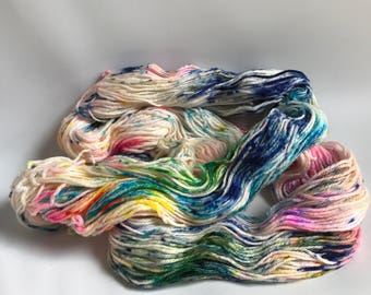 Hand-dyed yarn, Indie dyed yarn, hand dyed yarn THE COLOR PARROT -- ready to ship -- Randall's Island sport superwashmerino-nylon yarn