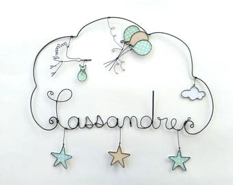 """Name wire customizable """"Flight of a stork in the sky star"""" decoration for Baby Shower nursery wall cloud"""